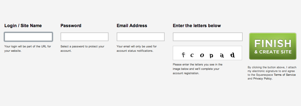 แบบฟอร์มแนวนอนของเว็บไซต์ squarespace